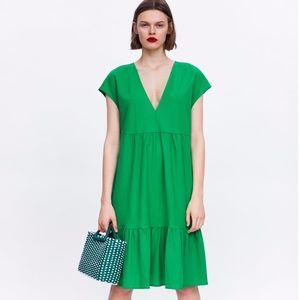 ZARA Green Ruffled Dress